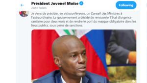 L'état d'urgence sanitaire prolongé de deux mois en Haïti