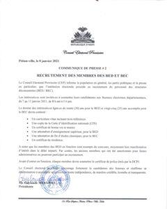 Haïti-Élection : 7 février ou pas, le CEP lance son processus de recrutement
