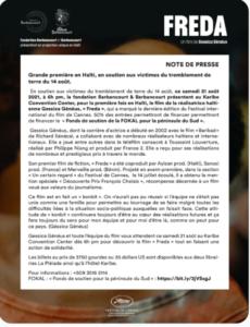 Grande 1ere en Haïti de FREDA, en soutien aux victimes du séisme du 14 Août